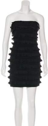 Elizabeth and James Ruffle-Accented Mini Dress Black Ruffle-Accented Mini Dress