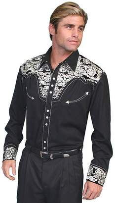 Scully Western Shirt Mens L/S Snap EmbroideredLT Silver P-634