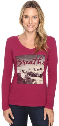 Life is good Breathe Mountain Photo Long Sleeve Pocket Tee $40 thestylecure.com