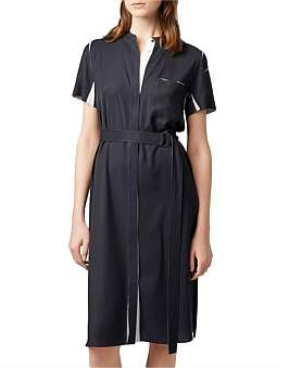 HUGO BOSS Fitted Shirt Dress In Fluid Fabric With Belted Waist