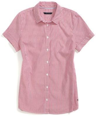 Final Sale- Yale Stripe Short Sleeve Shirt $44.50 thestylecure.com