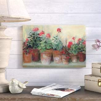 August Grove Kathleen's Geraniums Painting Print on Wrapped Canvas