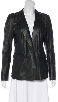 Lafayette 148 Notch-Lapel Leather Blazer