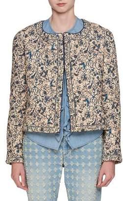 Etoile Isabel Marant Hustin Printed Quilt Jacket with Studs Trim