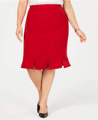Kasper Plus Size Pleated-Hem Skirt