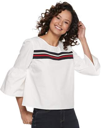 Almost Famous Juniors' Striped Flare Sleeve Top