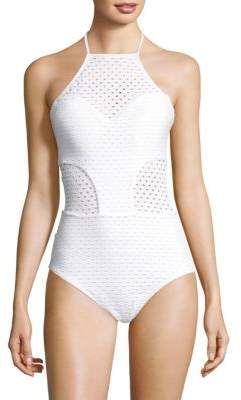 Shoshanna Sheer Block One-Piece Swimsuit