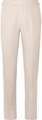 Kingsman Beige Slim-Fit Linen Suit Trousers