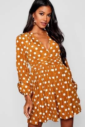 boohoo Polka Dot Rouched Waist Tea Dress