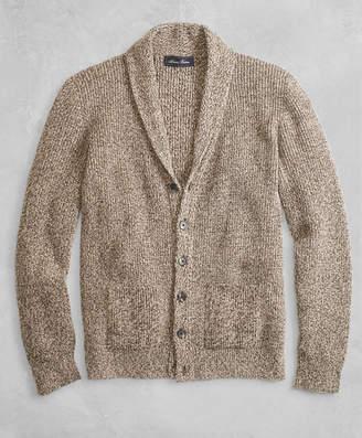 Brooks Brothers Golden Fleece 3-D Knit Marled Alpaca-Blend Shawl-Collar Cardigan