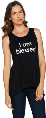 Peace Love World Affirmation Knit Tank with Asymmetric Hem