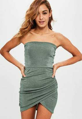 Missguided Khaki Bandeau Ruched Side Bodycon Dress