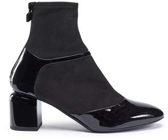 Pierre Hardy 'Laura' patent leather stretch suede ankle boots