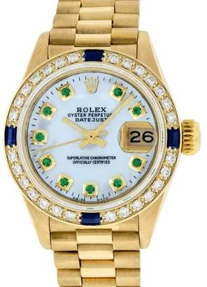 Rolex Datejust President 18K Yellow Gold Mother Of Pearl Diamond & Emerald 26mm Womens Watch