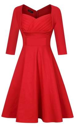 Lintimes Fashion Women Retro V-Neck Elbow Sleeve Dress Vintage Print A-line Swing Dress Polka-dot Dress Party Skirt