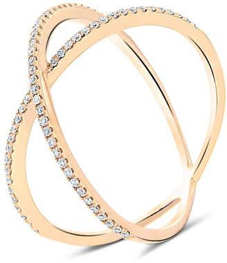 "Cosanuova 18K Gold Diamond Ring ""Dainty X"""