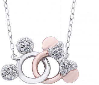 DISNEY CLASSICS Disney Classics 1/10 CT. T.W. Genuine Diamond Sterling Silver & 14K Rose Gold Over Silver Mickey Mouse Pendant Necklace