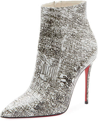 Christian Louboutin So Kate 100 Calf Caligraf Red Sole Booties