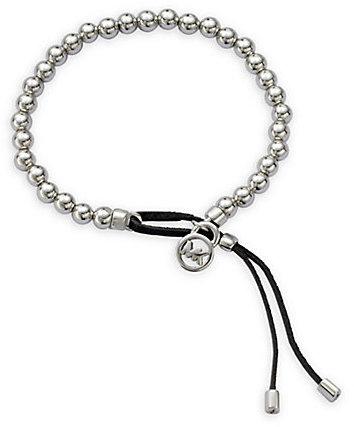 Michael Kors Leather & Beaded Bracelet/Silvertone