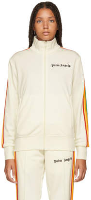 Palm Angels White Rainbow Classic Track Jacket