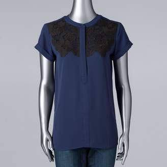 Vera Wang Women's Simply Vera Essential Embroidered Popover Top
