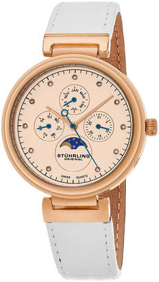 Stuhrling Original Womens White Strap Watch-Sp16305