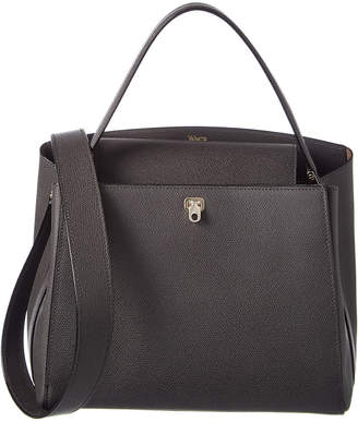 Valextra Breba Small Leather Top Handle Tote