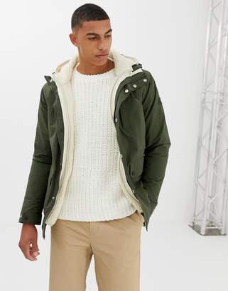 Farah Polder detachable borg insert hooded jacket in khaki