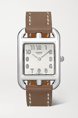 Hermes Timepieces - Cape Cod 29mm Large Stainless Steel And Leather Watch - Silver
