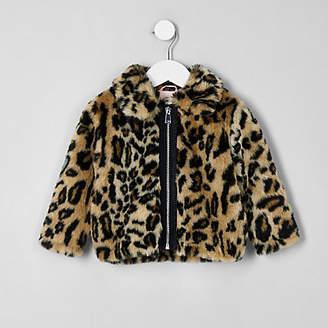 River Island Mini girls brown leopard print faux fur coat