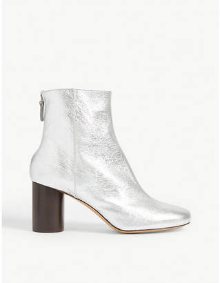 Sandro Sacha metallic leather ankle boots