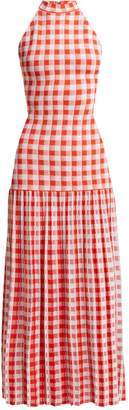 Sonia Rykiel Halterneck gingham stretch-knit dress