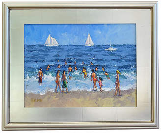 One Kings Lane Vintage Summer Beach with Sailboats by Tim Halpin Art