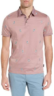 Ted Baker Scraffy Trim Fit Cockatoo Embroidered Polo