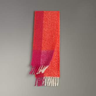 Burberry Two-tone Mohair Wool Scarf, Orange