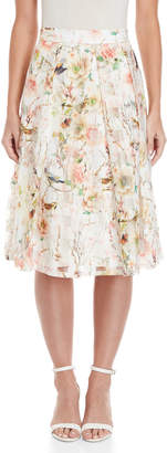 Apricot Floral Bird Print Pleated Skirt