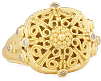 Konstantino Flameco Scroll Dome Ring with Brown Diamonds, Size 7