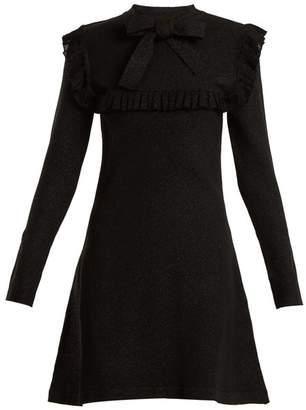 Joostricot - Ruffle Trimmed Tie Neck Stretch Knit Dress - Womens - Black