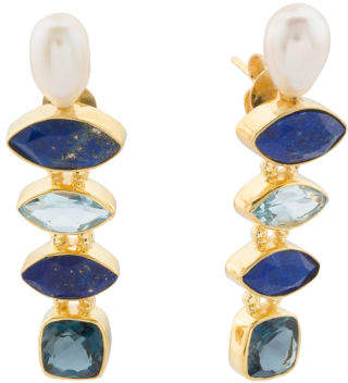 Made In India Sterling Silver Blue Topaz Pearl Earrings
