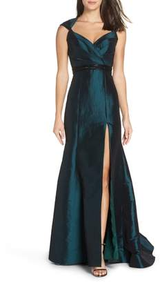Mac Duggal Side Slit Taffeta Trumpet Gown
