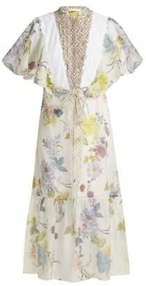 See by Chloe Floral And Geometric Print Chiffon Maxi Dress - Womens - White Multi