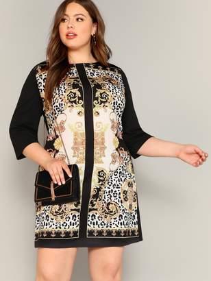 Shein Plus Scarf Print Tunic Dress
