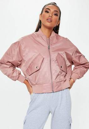 Missguided Petite Pink Satin Bomber Jacket, Pink