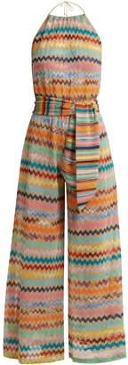 Missoni MARE Zigzag-striped lamé jumpsuit