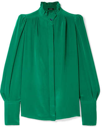 Isabel Marant Lamia Ruffle-trimmed Silk Blouse - Jade