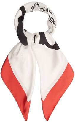 Gucci Logo Print Silk Twill Scarf - Womens - White