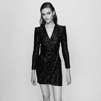 Maje Wrap Dress with Sequins