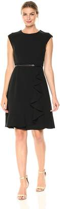 Sandra Darren Women's 1 Pc Cap Sleeve Belted Crepe Fit and Flare Dress