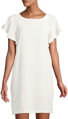 Catherine Malandrino Scoop-Neck Ruffle-Sleeve Shift Dress