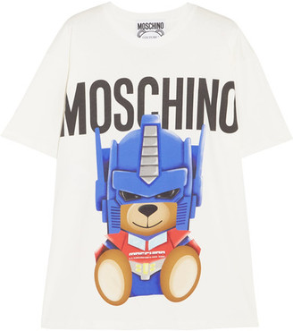Moschino - Oversized Printed Cotton-jersey T-shirt - White $250 thestylecure.com